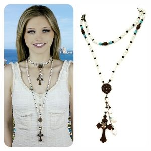 Rosewood and Pearl Cross Necklace